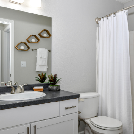 Bathroom with white cabinets and dark counter for sink