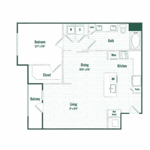 A6a | 1 bed 1 bath | 866 sq ft