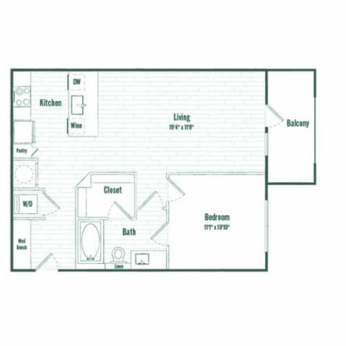 A2a | 1 bed 1 bath | 710 sq ft