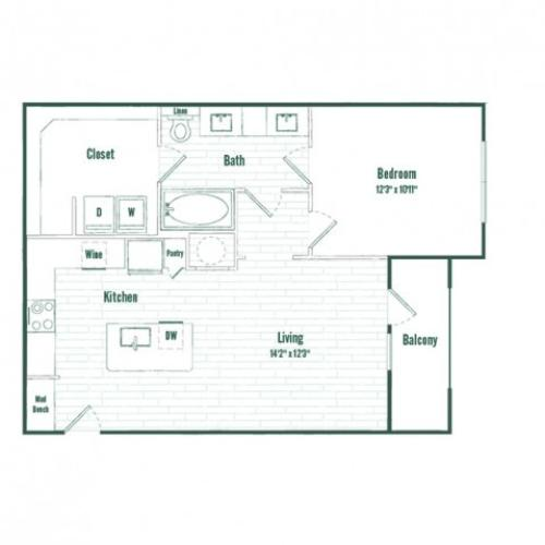 A3HC | 1 bed 1 bath | 753 sq ft