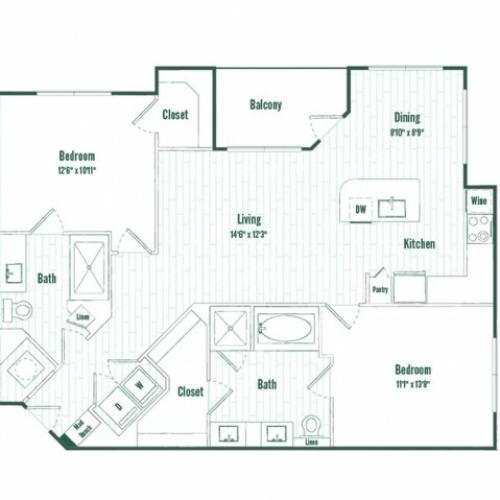 B2a| 2 bed 2 bath | 1129 sq ft