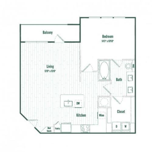 A4b | 1 bed 1 bath | 840 sq ft