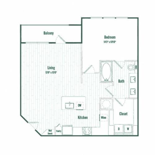 A4a | 1 bed 1 bath  | 855 sq ft