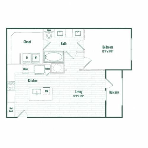 A3b | 1 bed 1 bath  | 753 sq ft
