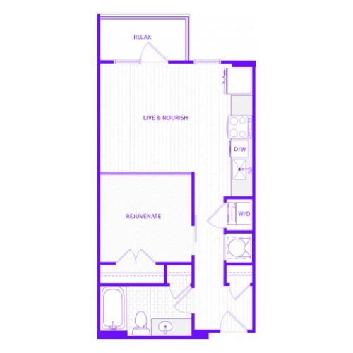 The Waters | 1 bed  1 bath | 623 sq ft