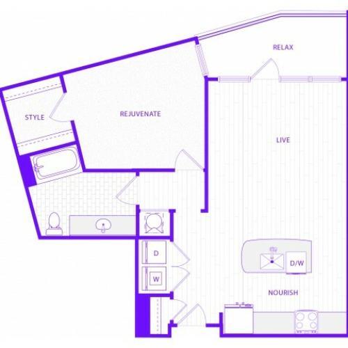 The Waits | 1 bed  1 bath | 959 sq ft