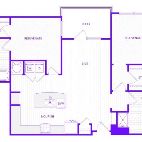 The Watson | 2 bed  2 bath | 1315 sq ft