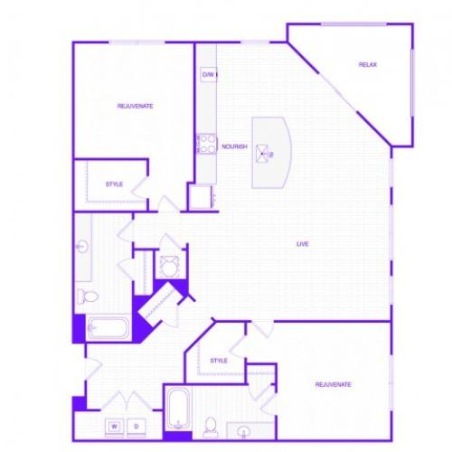 The Harris | 2 bed  2 bath | 1384 sq ft