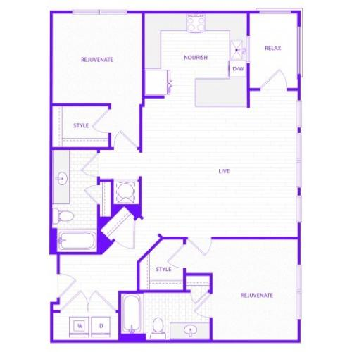 The Janis | 2 bed  2 bath | 1384 sq ft
