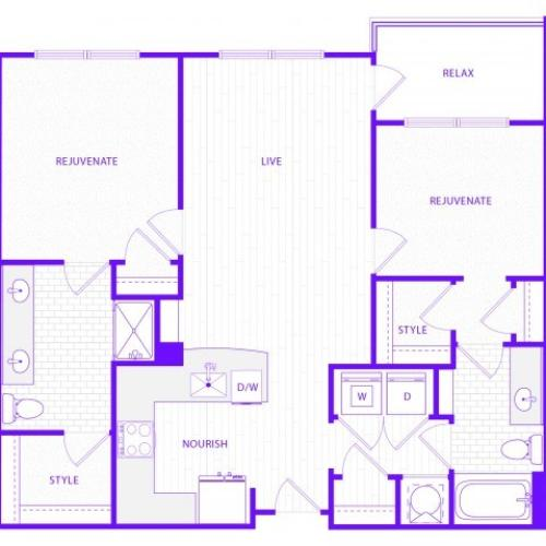The Rush | 2 bed  2 bath | 1252 sq ft