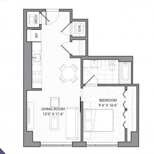 A3 | 1 bed 1 bath | from 631 square feet