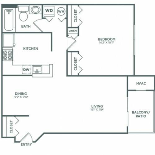 A1 | 1 bed 1 bath | 706 sq ft