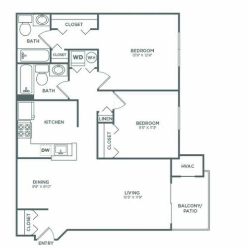 B3 | 2 bed 2 bath | 942 sq ft