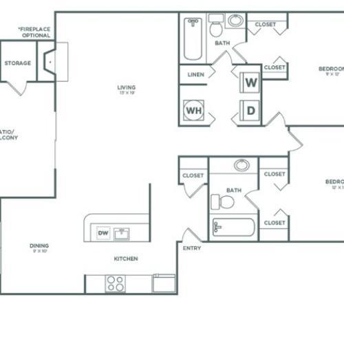B4R Oak Reno | 2 x 2 | 1048 sq ft