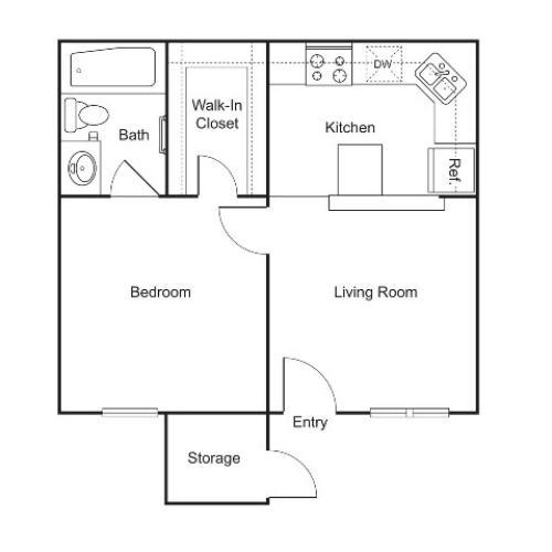 A1 | 1 bed 1 bath | 444 sq ft