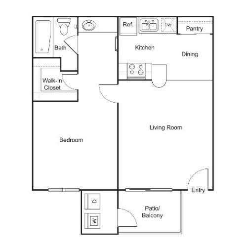 A2 | 1 bed 1 bath | 552 sq ft