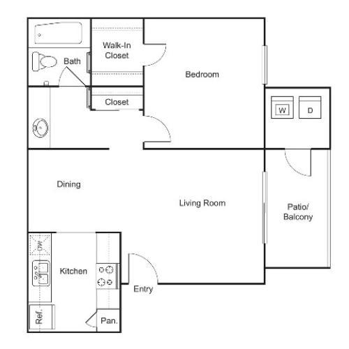 A3 | 1 bed 1 bath | 614 sq ft
