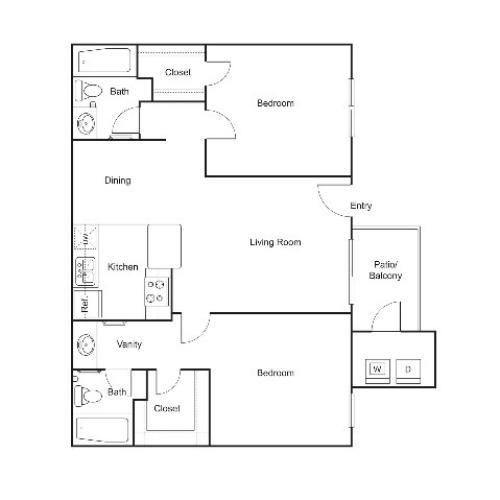 B2 | 2 bed 2 bath | 852 sq ft
