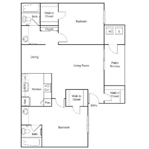 B3 | 2 bed 2 bath | 934 sq ft