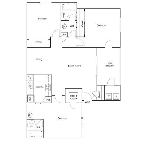C1 | 3 bed 2 bath | 1070 sq ft