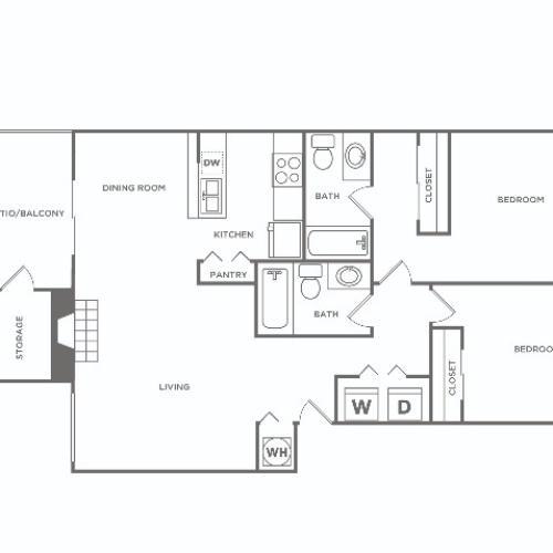 B2 | 2 bed 2 bath | 1006 sq ft