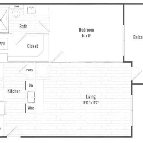 A1 | 1 bed 1 bath | 705 sq ft.