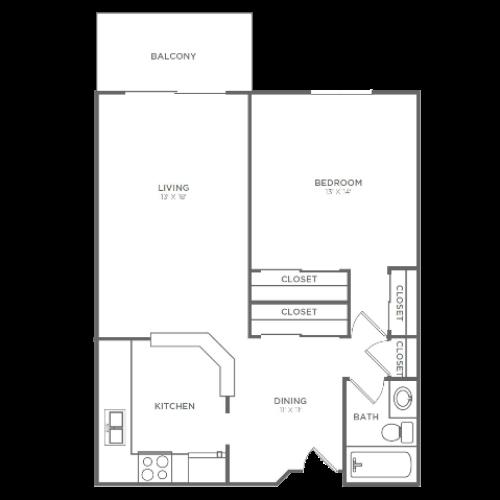 1 Bedroom 1 Bathroom A1 | 767 Sq Ft