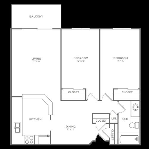 2 Bedroom 1 Bathroom B2 | from 1004 sq ft