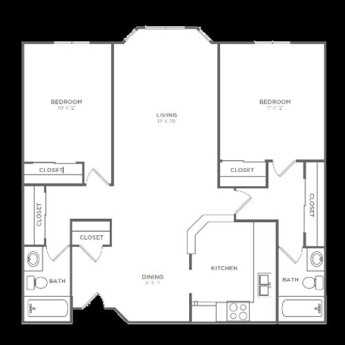 2 Bedroom 2 Bathroom B3 | from 1024 sq ft