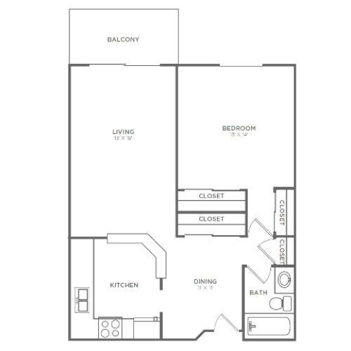 1 Bedroom 1 Bathroom A1r | from 767 sq ft