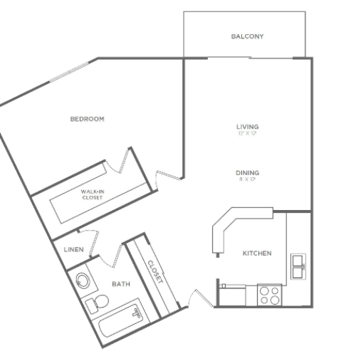 1 Bedroom 1 Bathroom A3r | from 834 sq ft