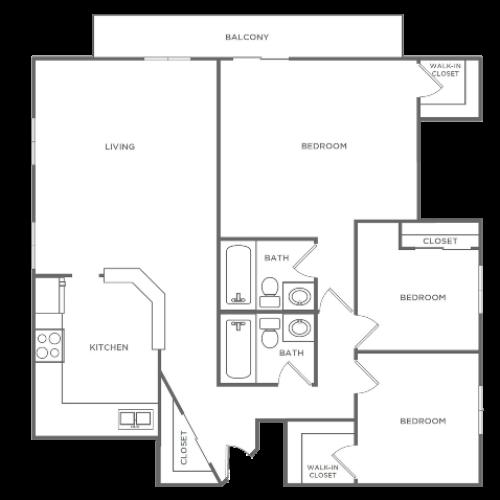 3 Bedroom 2 Bathroom C1r | from 1300 sq ft
