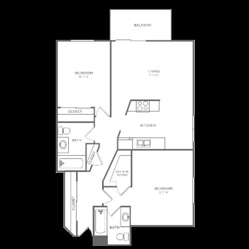 2 Bedroom 2 Bathroom B4r | from 1036 sq ft