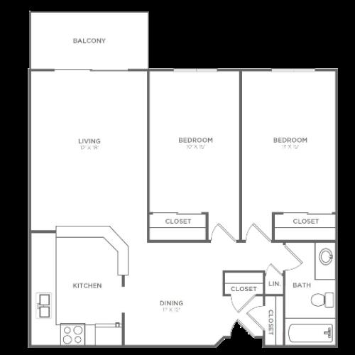 2 Bedroom 2 Bathroom B2r2 | from 1004 sq ft