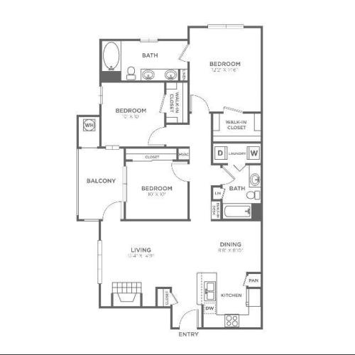 C1 Sophisticated | 3 bed 2 bath | from 1340 square feet