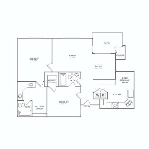 2x2 F. Reno-B | 2 bed 2 bath | 1269 sq ft