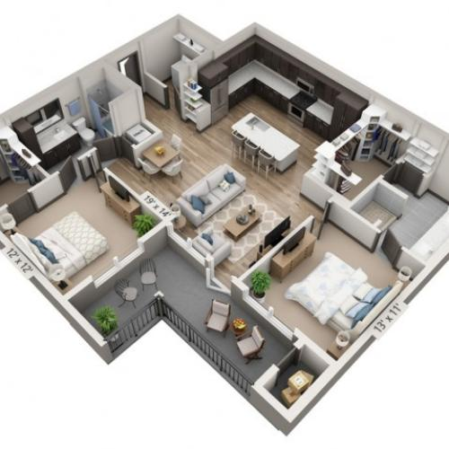 Canyon | 2 bed 2 bath | from 1225 square feet
