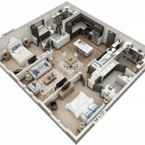 San Antonio 1152SF | 2 bed 2 bath | from 1152 square feet