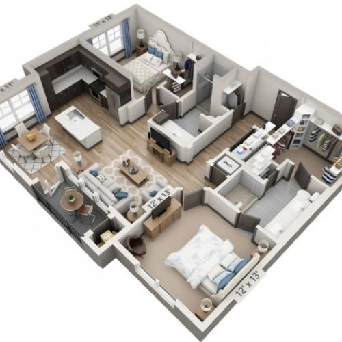 Blanco 1140SF | 2 bed 2 bath | from 1140 square feet