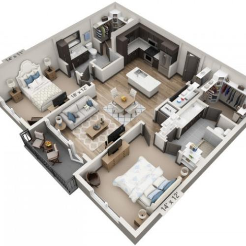 San Antonio 1117SF | 2 bed 2 bath | from 1117 square feet