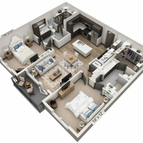 San Antonio 1081SF | 2 bed 2 bath | from 1081 square feet