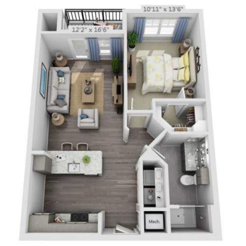 A1A | 1 bed 1 bath | from 678 square feet