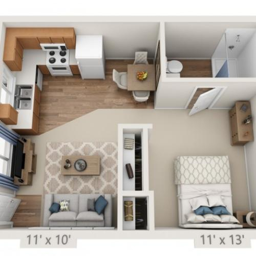 Presley | Studio1 bath | from 455 square feet
