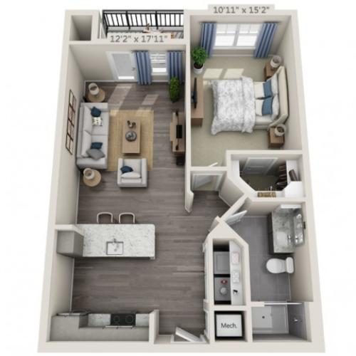 A1B | 1 bed 1 bath | from 759 square feet