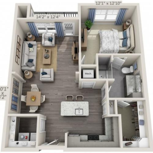 A2 | 1 bed 1 bath | from 846 square feet