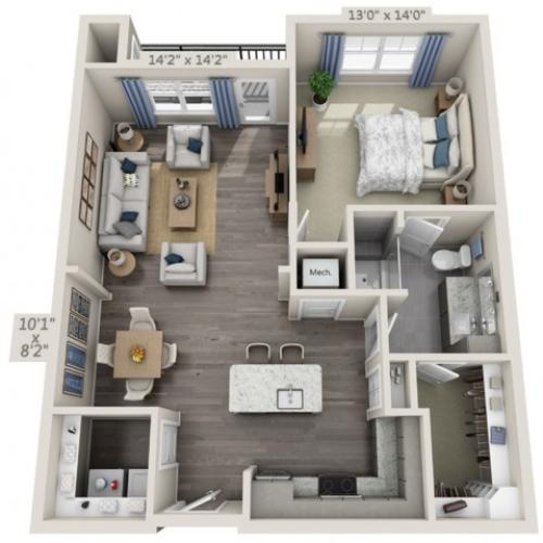A2A | 1 bed 1 bath | from 793 square feet