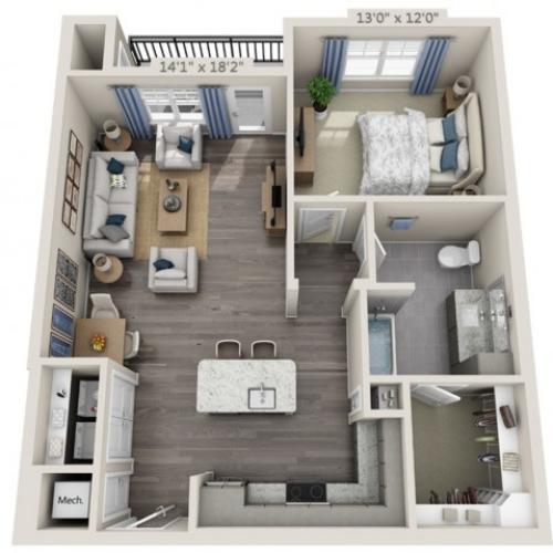 A2 HC | 1 bed 1 bath | from 854 square feet
