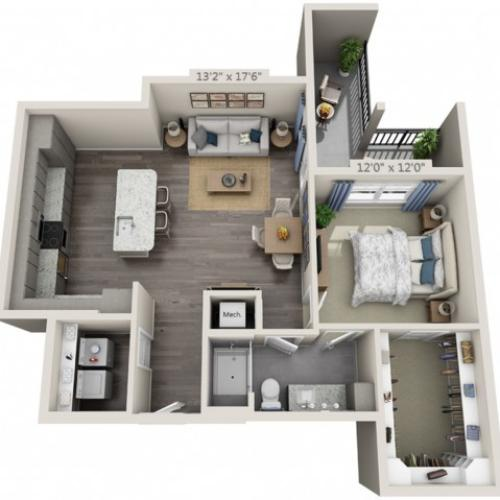 A3 | 1 bed 1 bath | from 884 square feet