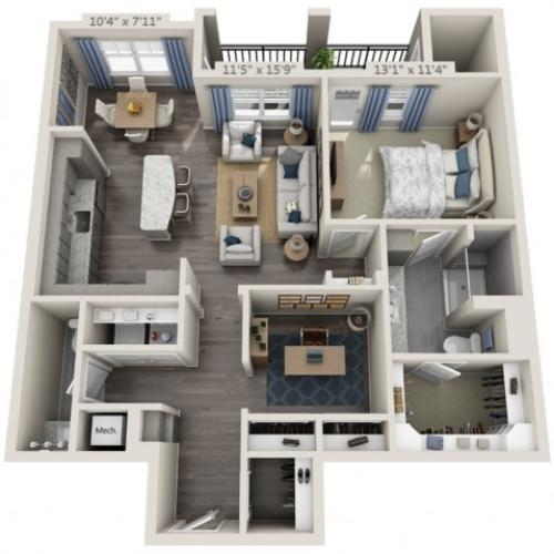 A4 | 1 bed 2 bath | from 990 square feet