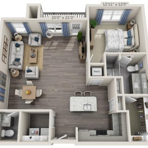 A5 | 1 bed 2 bath | from 1016 square feet